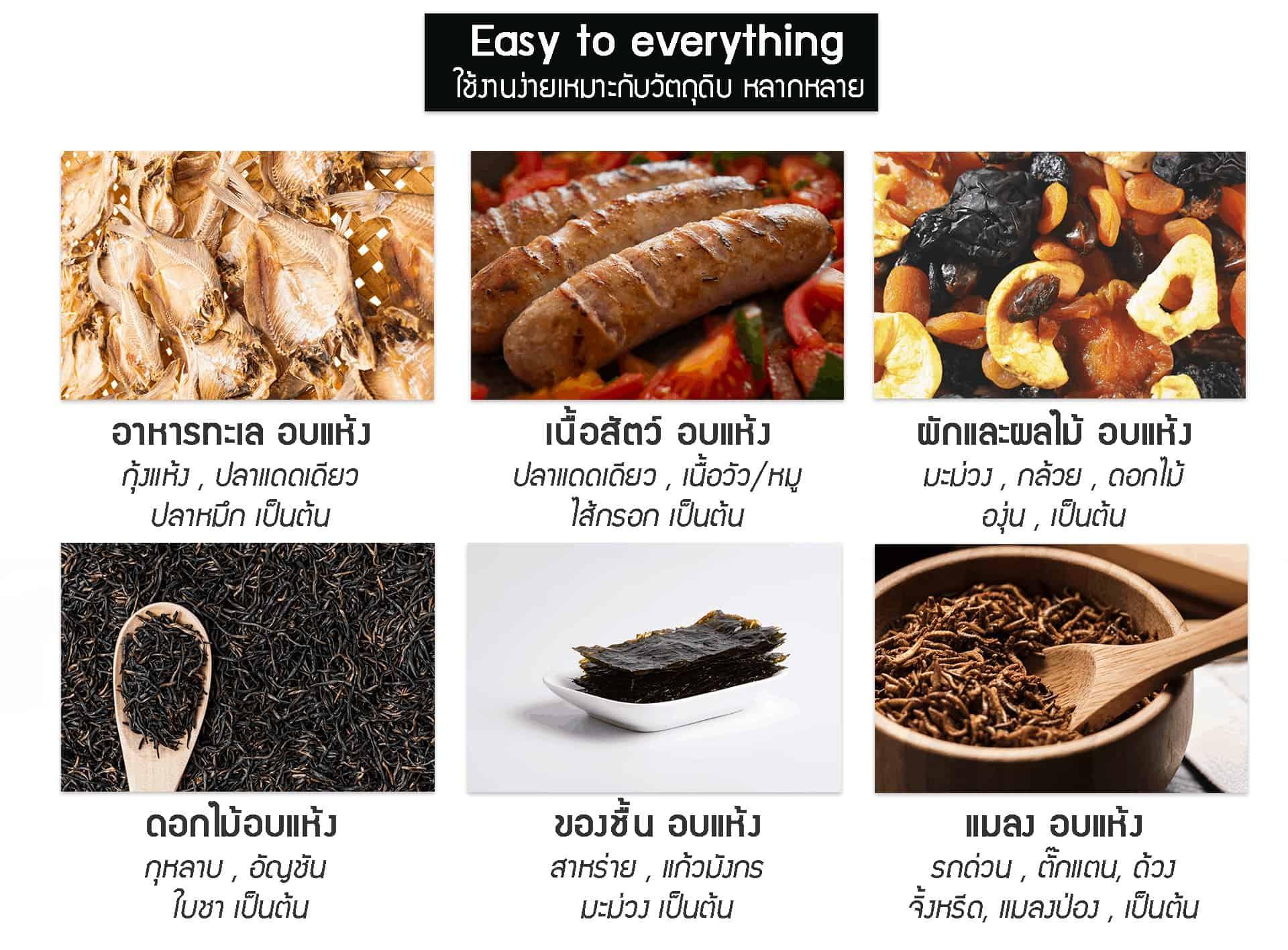 เครื่องอบแห้ง เครื่องอบผลไม้แห้ง -GE-black-ตัวอย่างอาหาร
