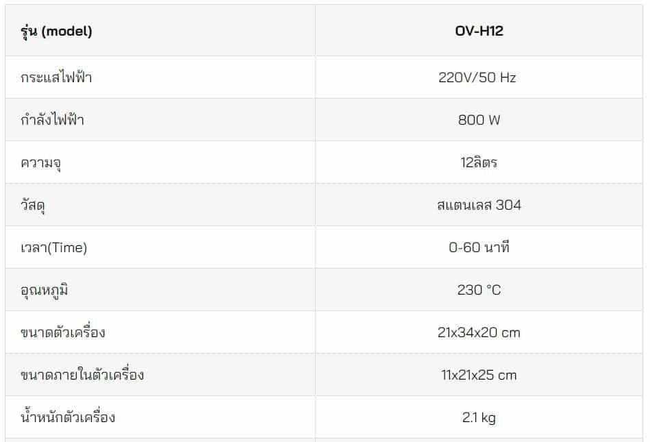เตาอบขนมปัง-12ลิตร-ตารางข้อมูล