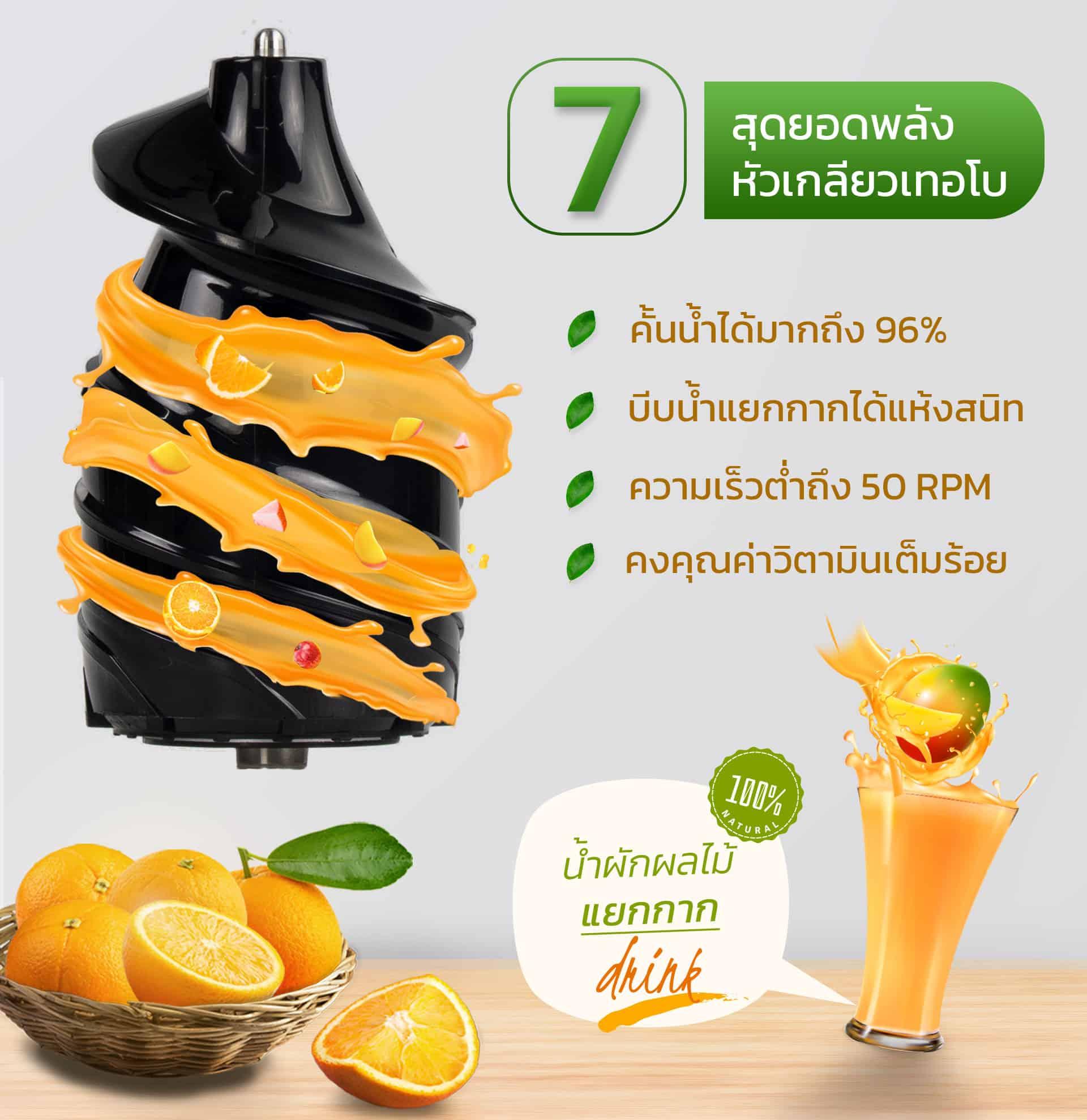 หัว7เกลียวเทอโบ-เครื่องคั้นน้ำผักผลไม้แยกกาก
